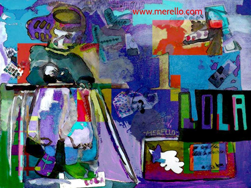 "BLUE LOLITA  Jose Manuel Merello.  ""Lolita la planchadora"" (Digital version).  Spanish Art. Digital Art. http://www.merello.com"