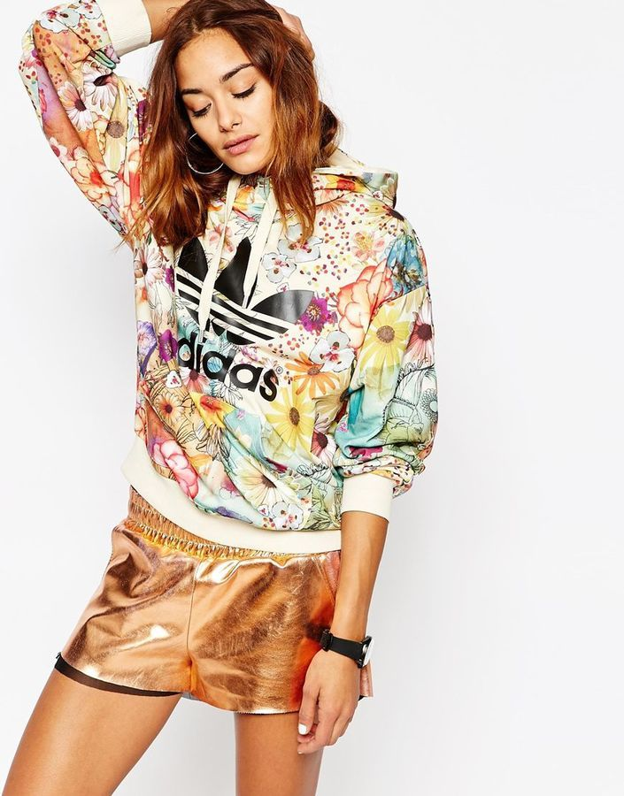 83b19ebb6f46c adidas Originals Farm Pull Over Hoodie With Trefoil Logo In Floral Print
