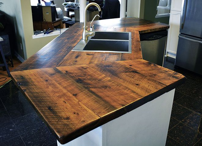 Custom Reclaimed Barn Wood Epoxy Butcher Block Counter