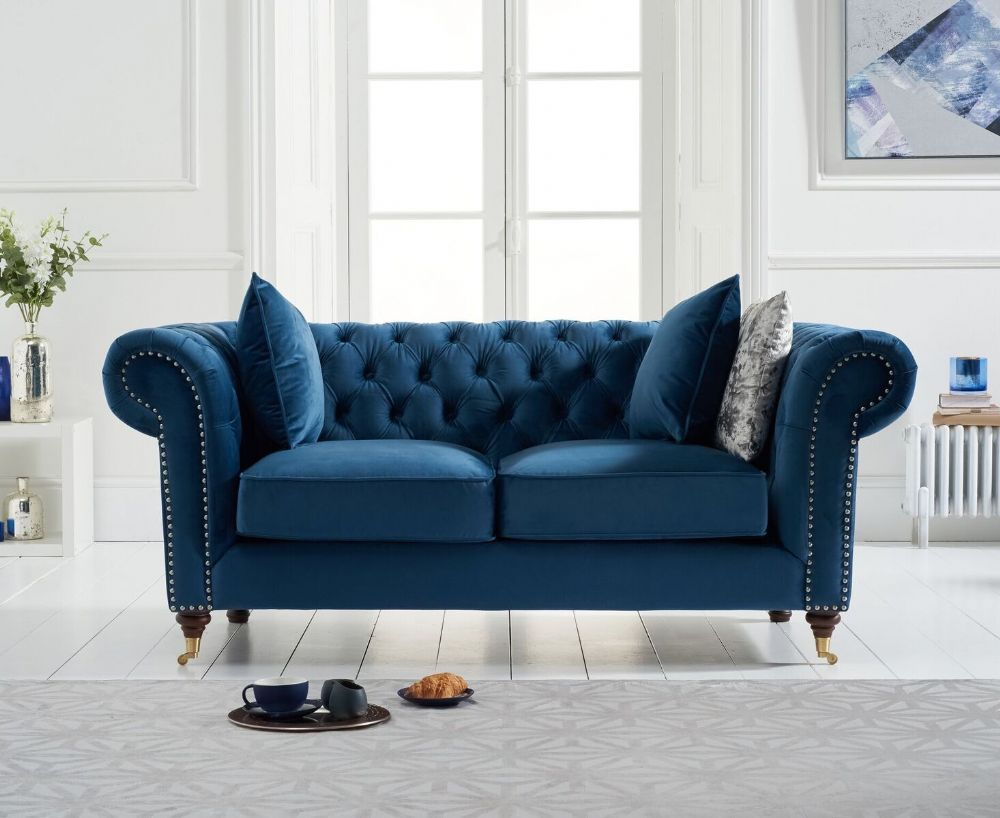 The Camara Chesterfield Blue Velvet 2 Seater Sofa Makes An Impression In Any Home Also Available In Grey Or Gre Best Leather Sofa Three Seater Sofa Seater Sofa