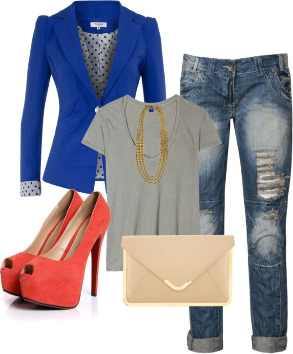 """Royal Blue, Grey, Jeans, Coral, Nude Outfit """"lfl"""" by lanena0986 on Polyvore"""