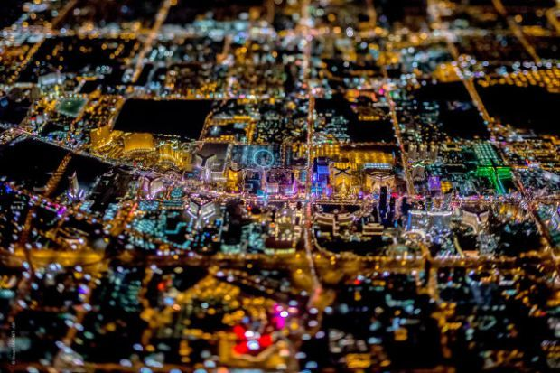 Spectacular Aerial Photographs of Las Vegas at Night like Youve Never Seen It Before