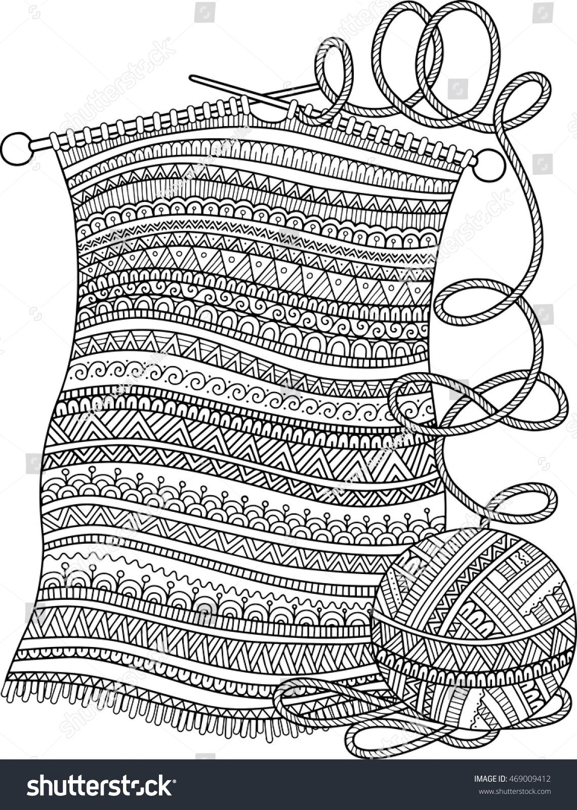 Vector Coloring Book For Adult Openwork Knitted Warm Scarf With A Ball Of Yarn And Knitting Needles