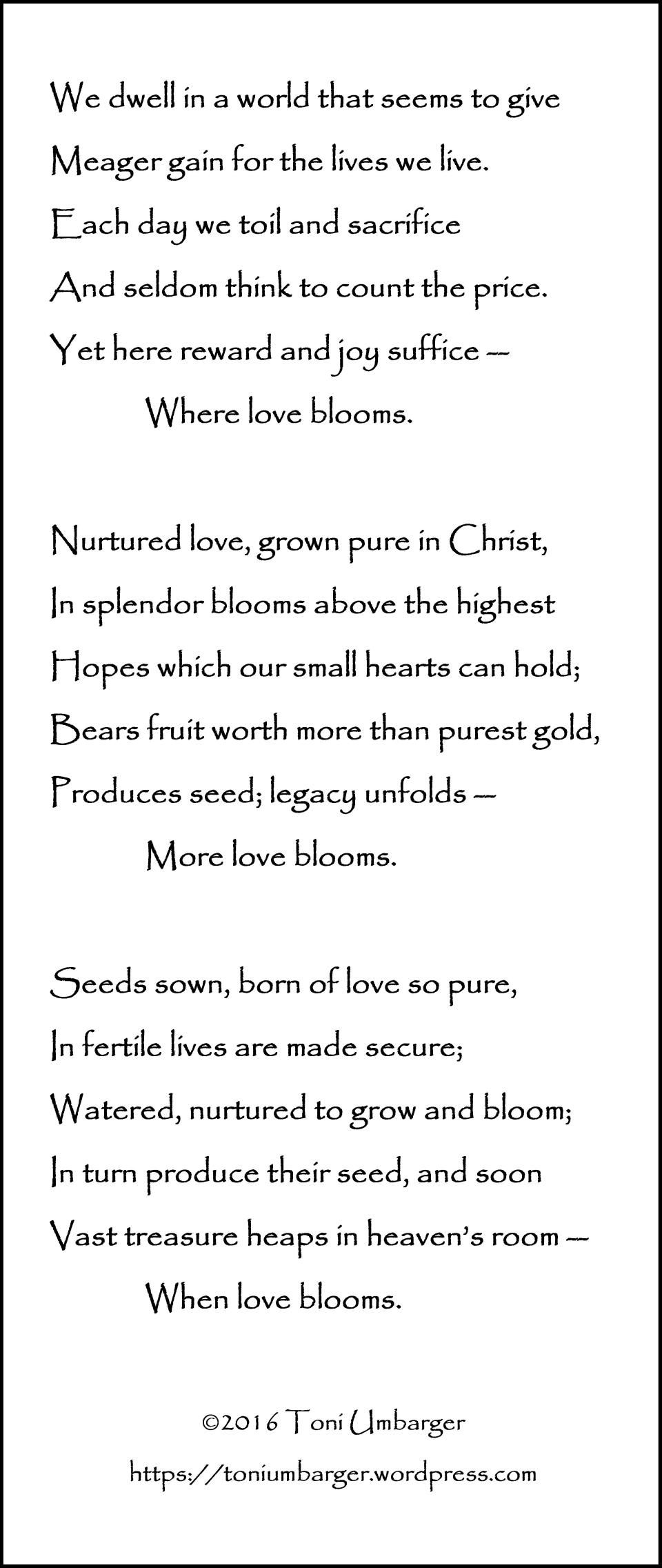 toni umbarger thoughtseeds love blooms poetry love faith https