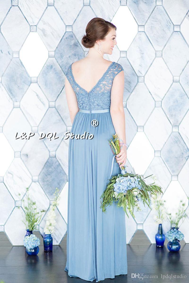 chiffon bridesmaid dresses lace top scoop zipper back floor