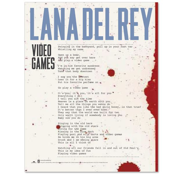 Lithograph Featuring The Lyrics To Video Games My Style - Fast car lyric video