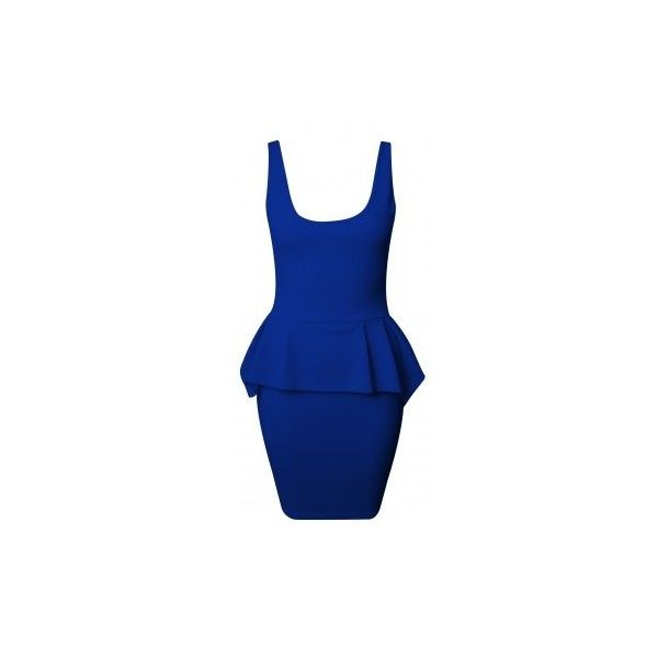 Zeena Royal Blue Zip Back Peplum Dress