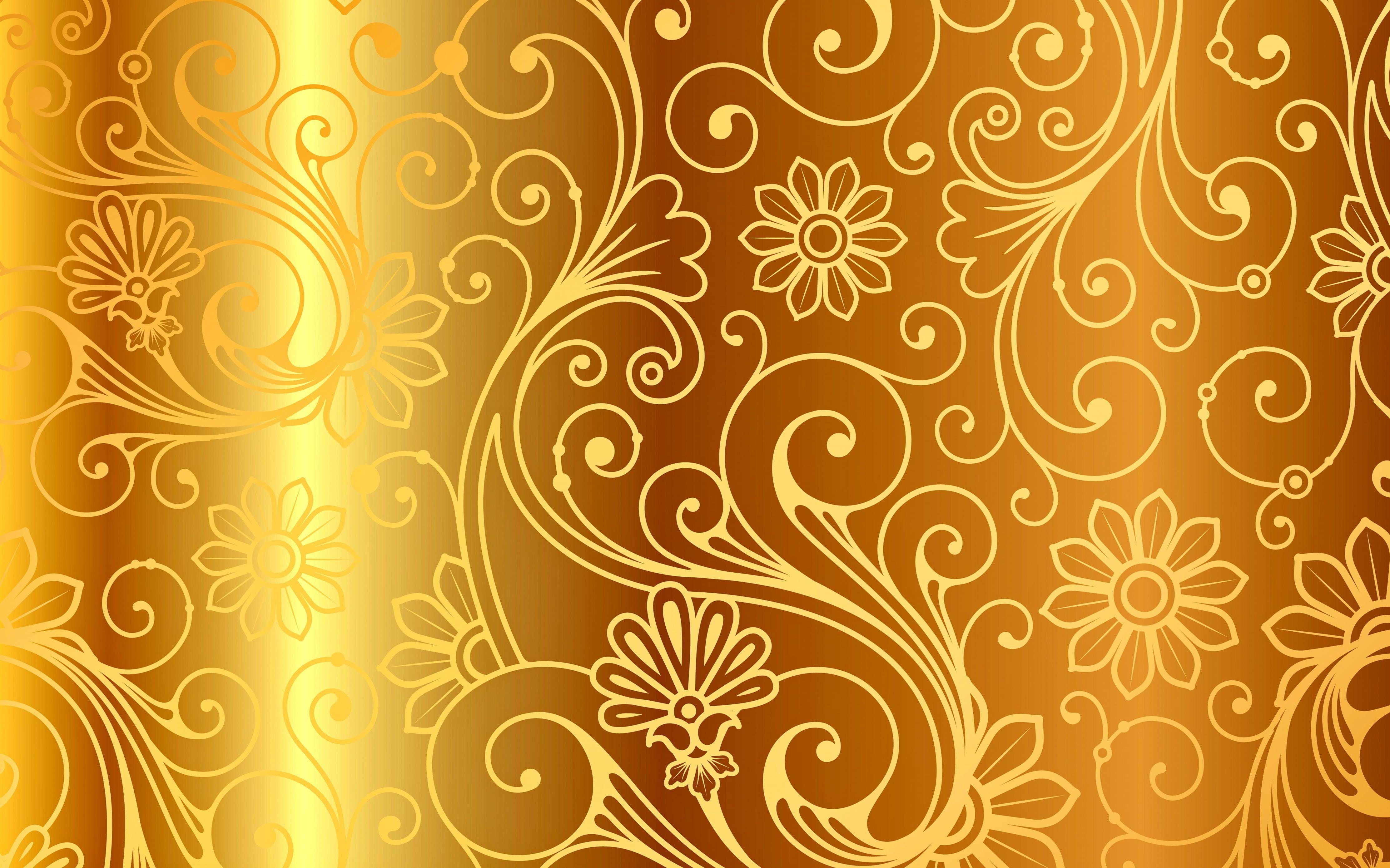 Brown Wallpaper Background Gold Pattern Vector Golden Ornament Vintage Background Pattern Gradi Golden Pattern Floral Background Hd Floral Background