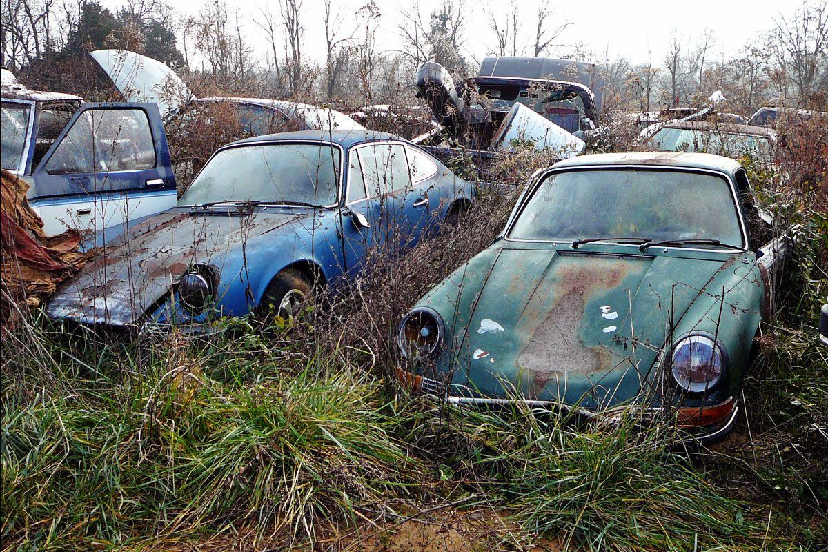 Salvage Yard Liquidation Vine Grove Kentucky Abandoned Cars Barn Find Cars Porsche