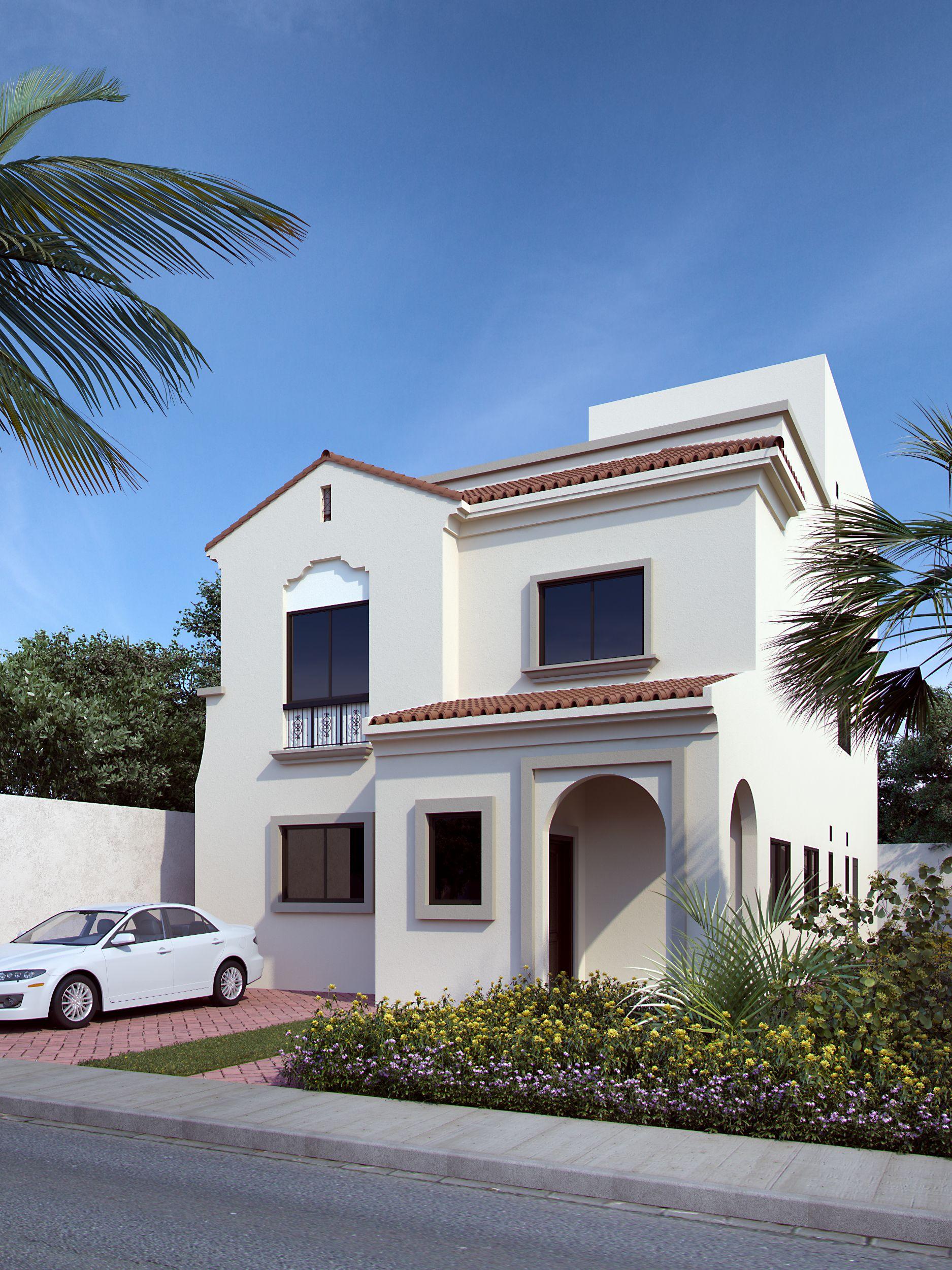 Proposed 3d photo rendering of spanish style villa villa for Spanish villa house