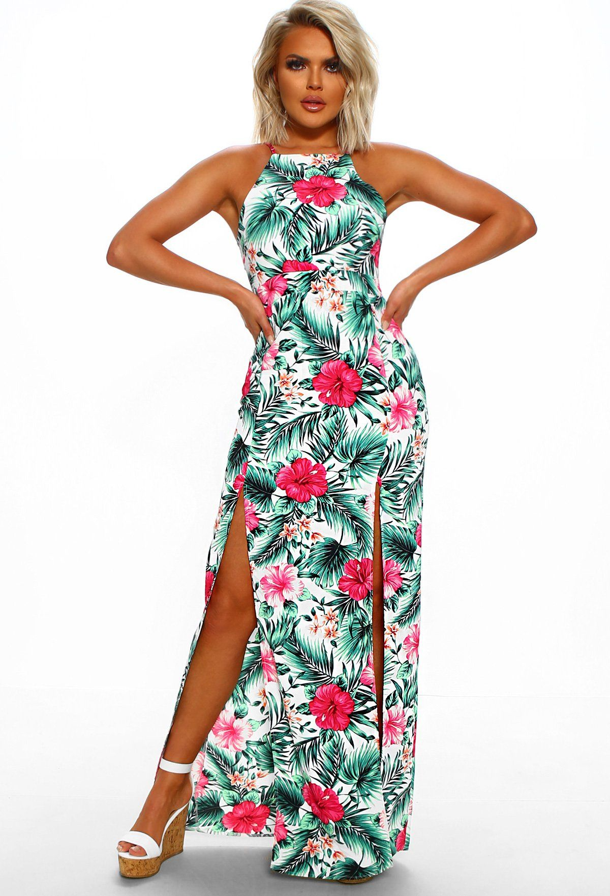 Caribbean Island White Tropical Print Maxi Dress Tropical Print Maxi Dress Maxi Dress Printed Maxi Dress