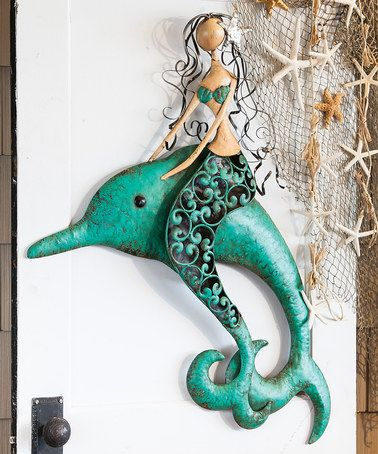 This 3 D Sculptural Metal Mermaid Dolphin Outdoor Wall Art Is