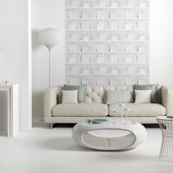 In This Living Room, White Furniture In Futuristic Shapes Work Well  Together. A Quirky