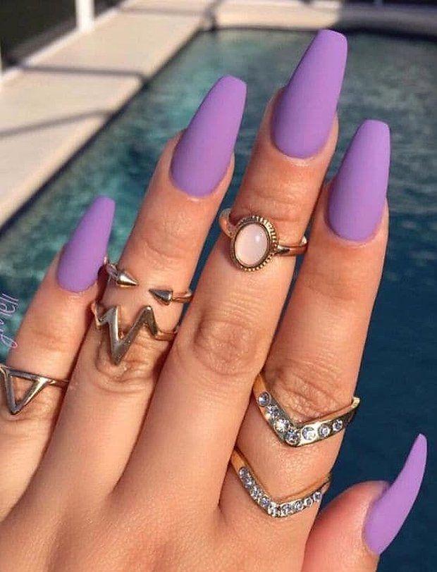 Purple Nails Uñas De Acrílico Largas Uñas Moradas Y Uñas Lila