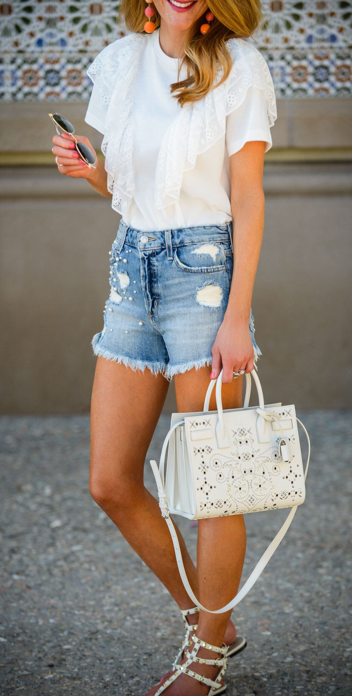 be48c0b529b summer outfits Elevating My Tee   Jean Shorts Game With This Lace Adorned  Top   Pearl Embellished Cutoffs! How Totally Fun Are These Two Pieces  I  Love When ...
