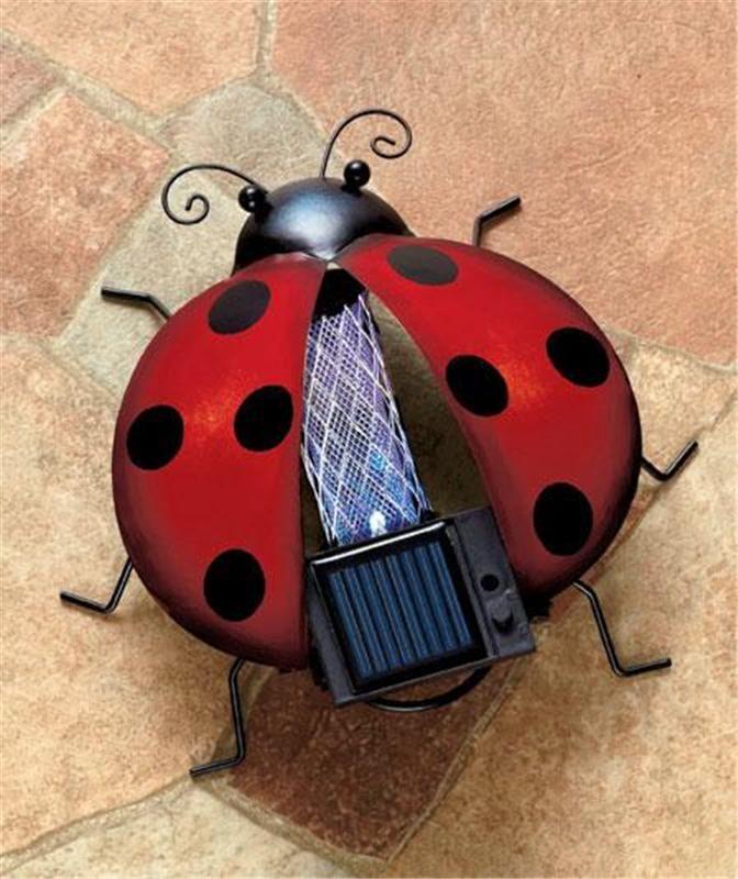 Bug Zer Ladybug Design Led Solar Garden Sculpture Yard Outdoor Decor Ebay