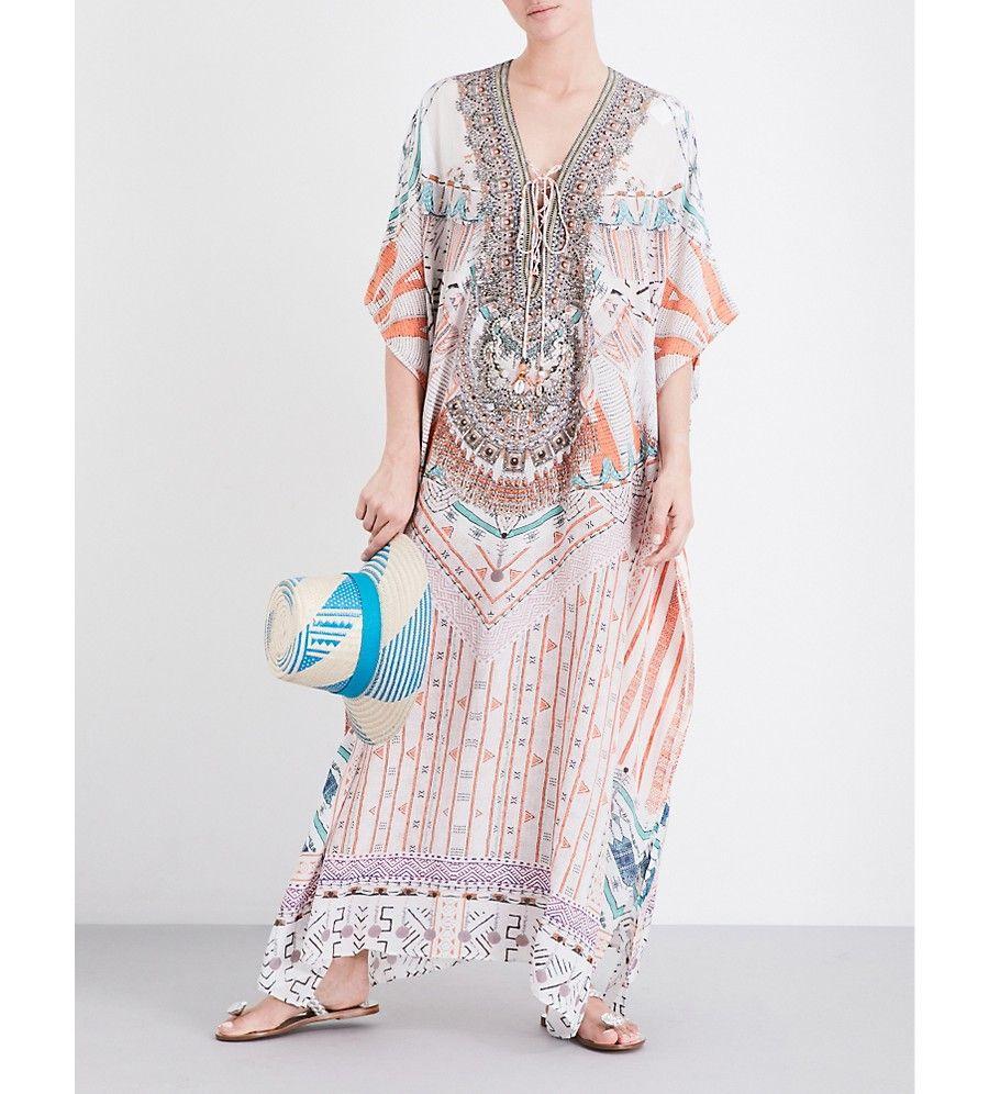 58296c3dc3 CAMILLA - Desert Rose lace-up silk long kaftan