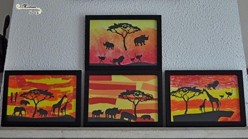 Activit cr ative enfants r aliser un tableau de la savane au soleil couchant en 3 fa ons for Realiser un tableau