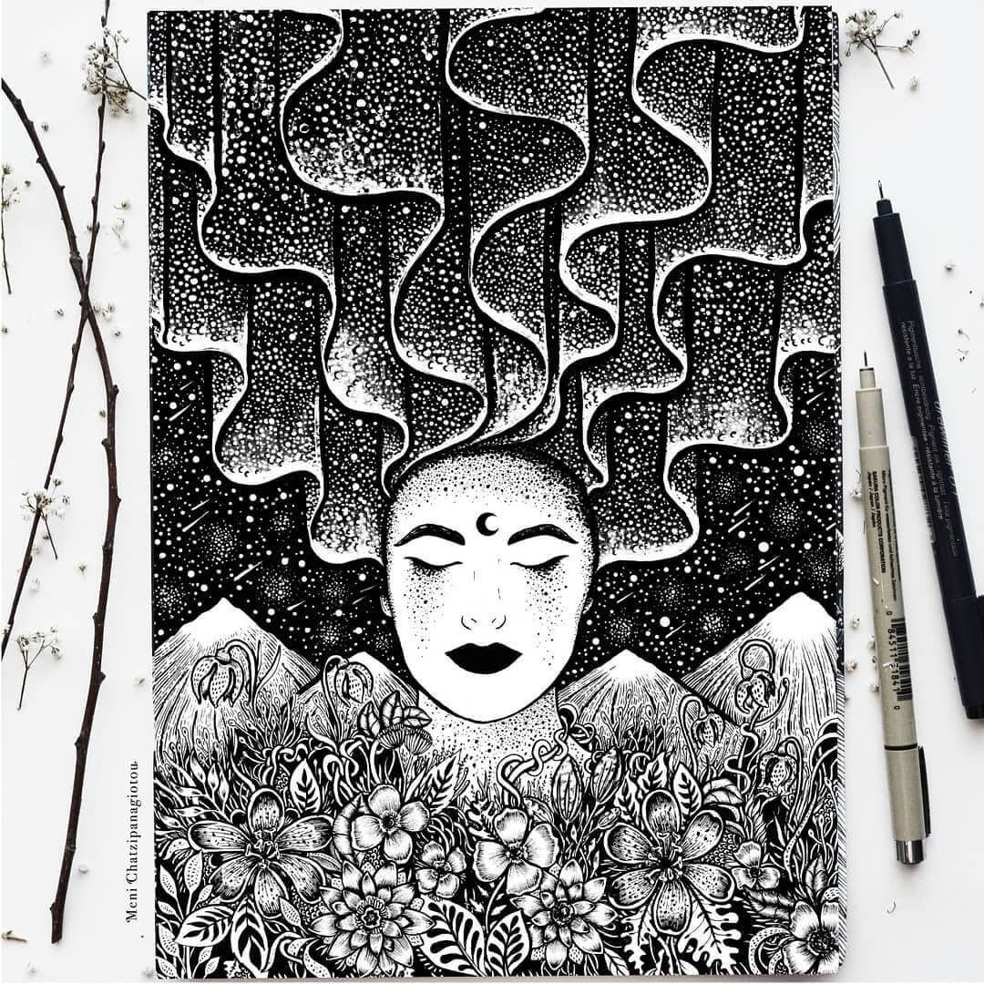 Fantasy and surrealism in ink illustrations with images