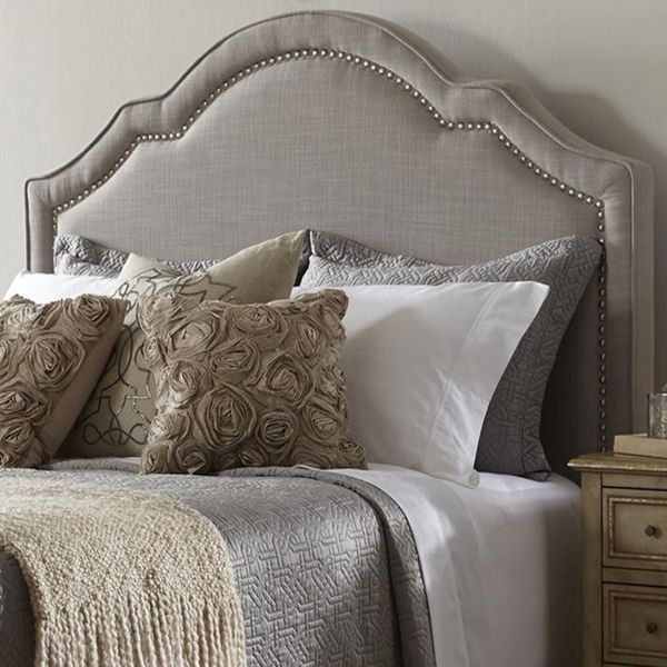 Elegant Taupe Queen Size Upholstered Headboard Brown