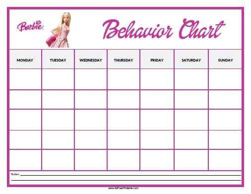 Barbie Behavior Chart  All Free Printable    Behaviour