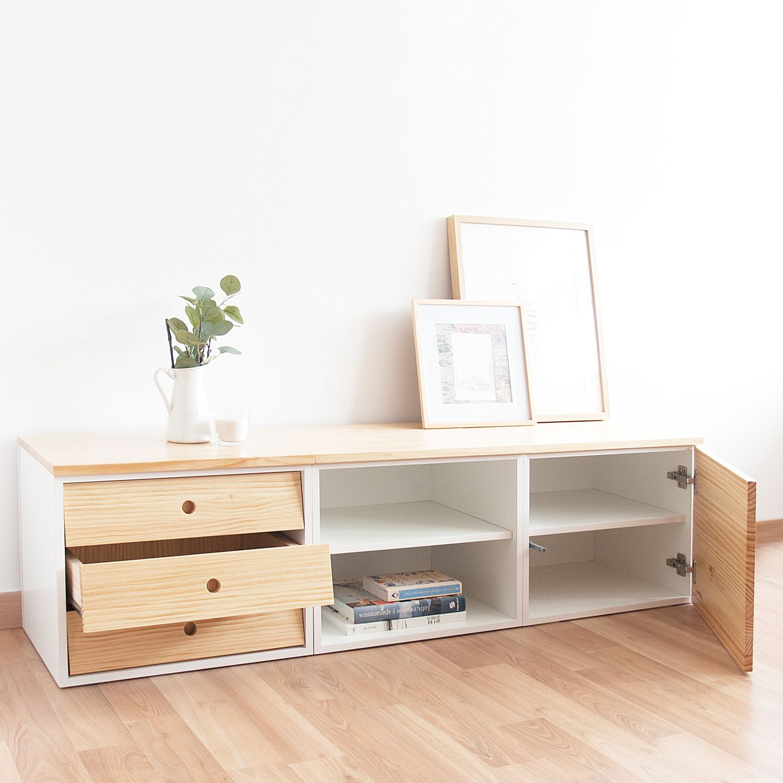 Mueble Tv Bajo Estante Nature Cajones En 2019 Muebles Para