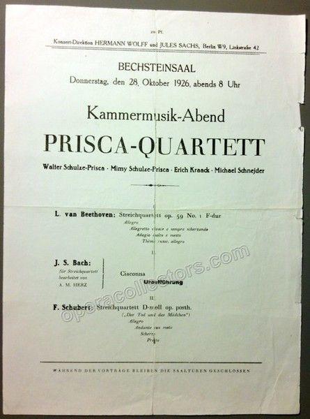 Prisca Quartet. Recital in Berlin, 28 October 1926. Beethoven, Bach-Herz (world…