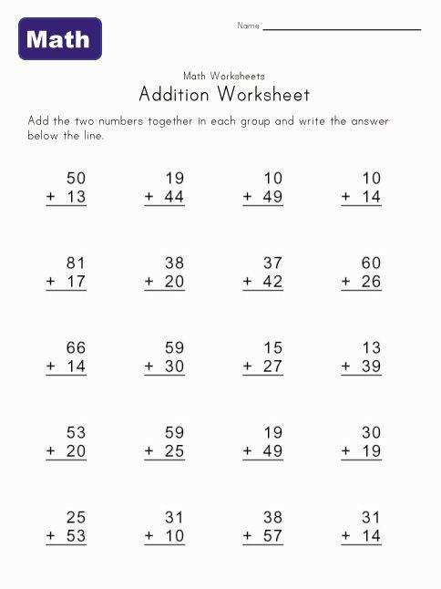 Addition Worksheet 2 With Images Addition Worksheets Kids