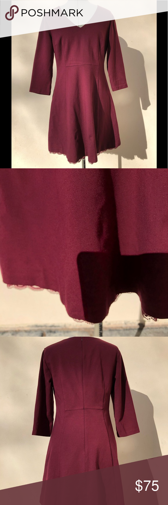 4a2eea9bdc3 Trina Turk Burgundy Dress Beautifully tailored with nice heavy fabric that  drapes well and has some stretch. Darling lace detail at hem.
