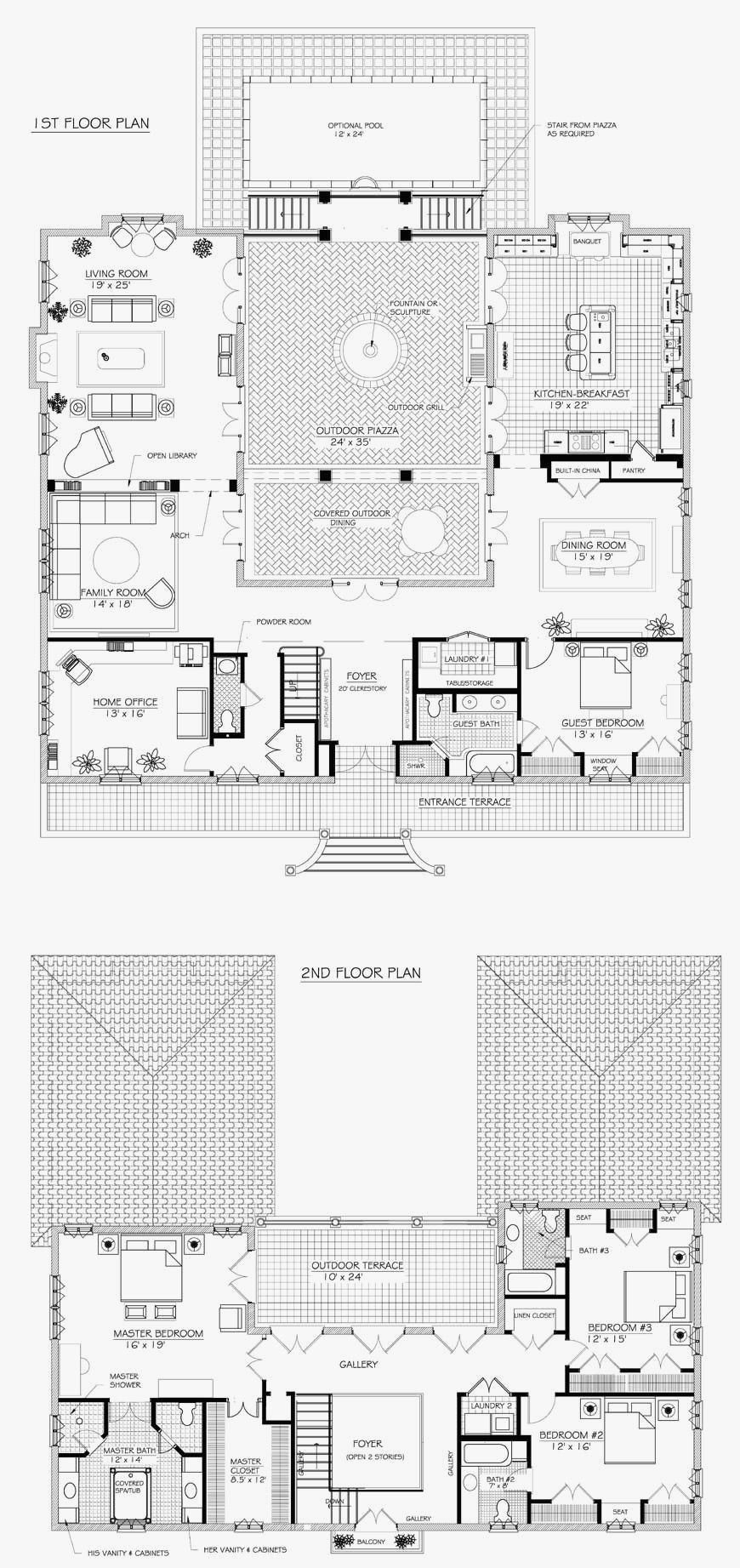 U Shaped House Plans With Courtyard In Middle Best Of French House Plans On Pinterest French House Plans Courtyard House Plans Farmhouse Floor Plans