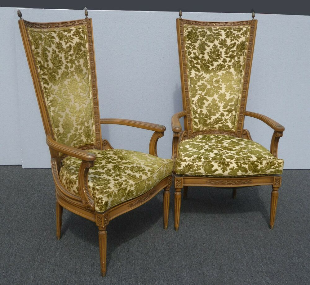 Pair Vintage Tallback French Provincial Green Velvet Accent Chairs