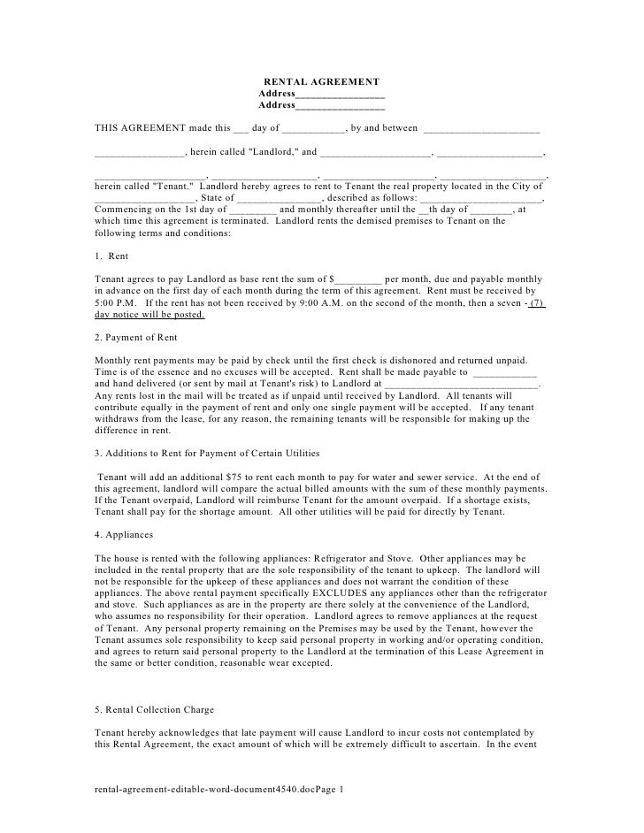 Sample House Rent Contracts Rental Contract Template Printable