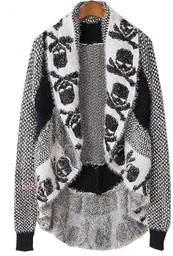 Women's #Fashion Clothing: Sweaters, Jumpers,  and Cardigans: Lady Autumn #Black and #White #Skull Lapel Batwing Long Sleeve #Cardigan Knitted #Sweater Cape Jumper: Clothes
