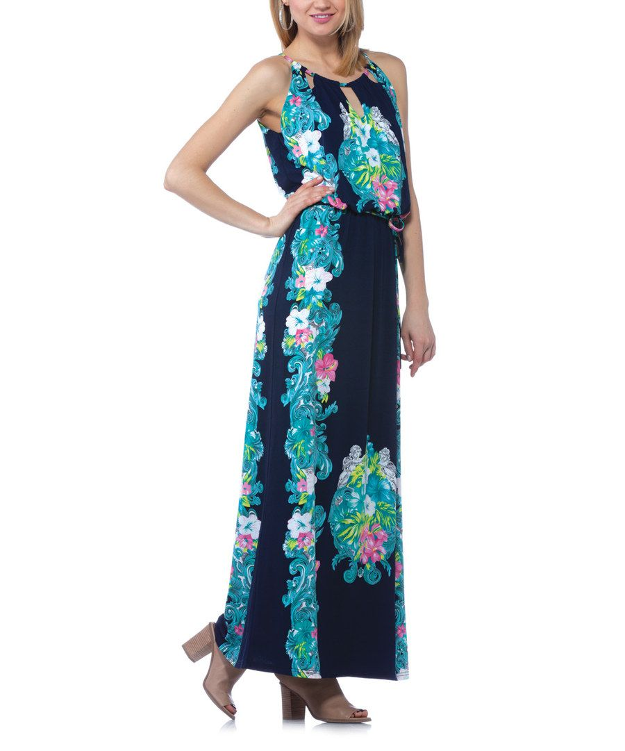 Look at this Navy Foral Keyhole Knit Maxi Dress on #zulily today!