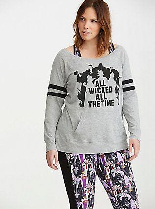 plus size torrid active - disney villains pullover top, grey