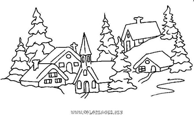 coloriage Chalets et maisons de noel et montagne gratuit | Paysage