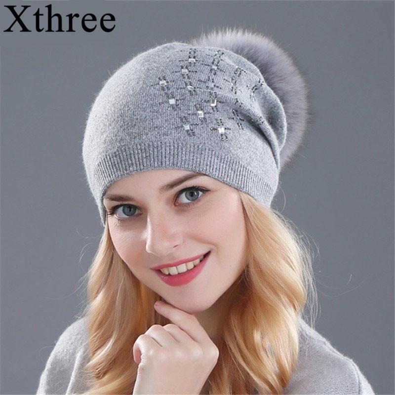 52bbe918472a8 Xthree Women S Winter Hat Rabbit Fur Wool Knitted Hat Shining Rhinesto –  FuzWeb