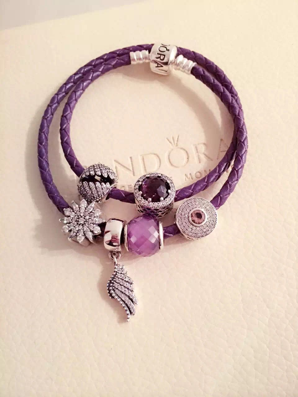 $179 Pandora Leather Charm Bracelet Purple Hot Sale!
