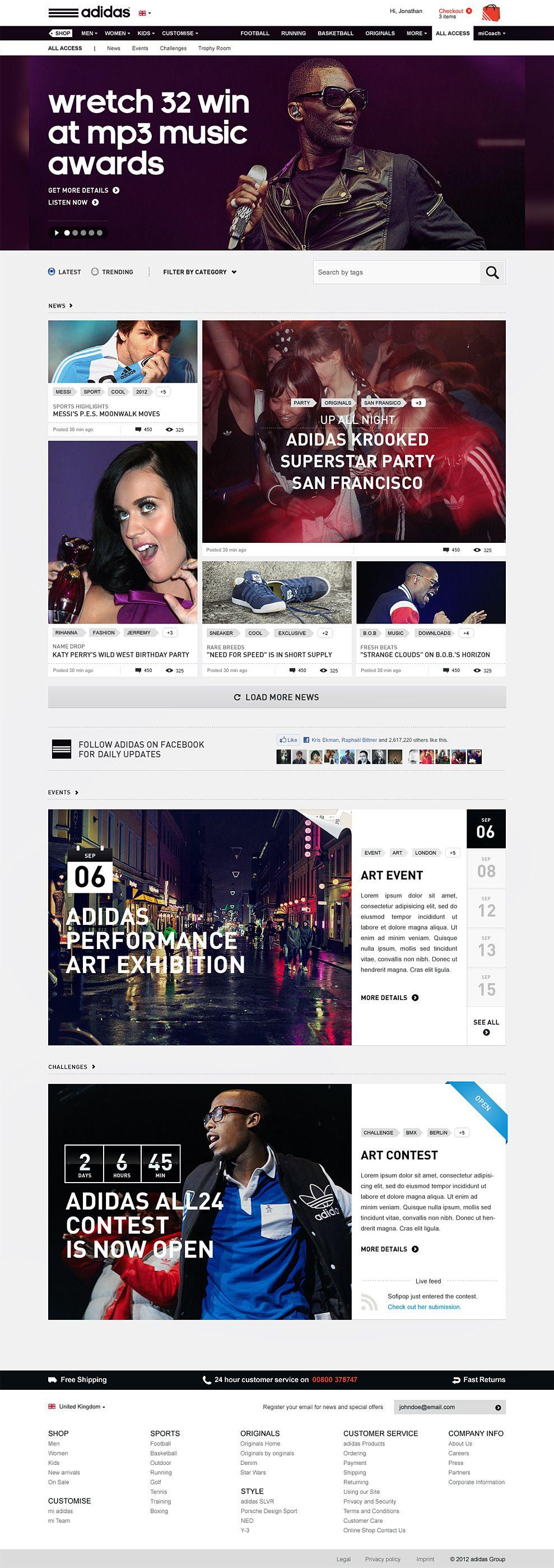 adidas / Go all in - Patrick Dubé / Interactive Art Director #sport #homepage #modular