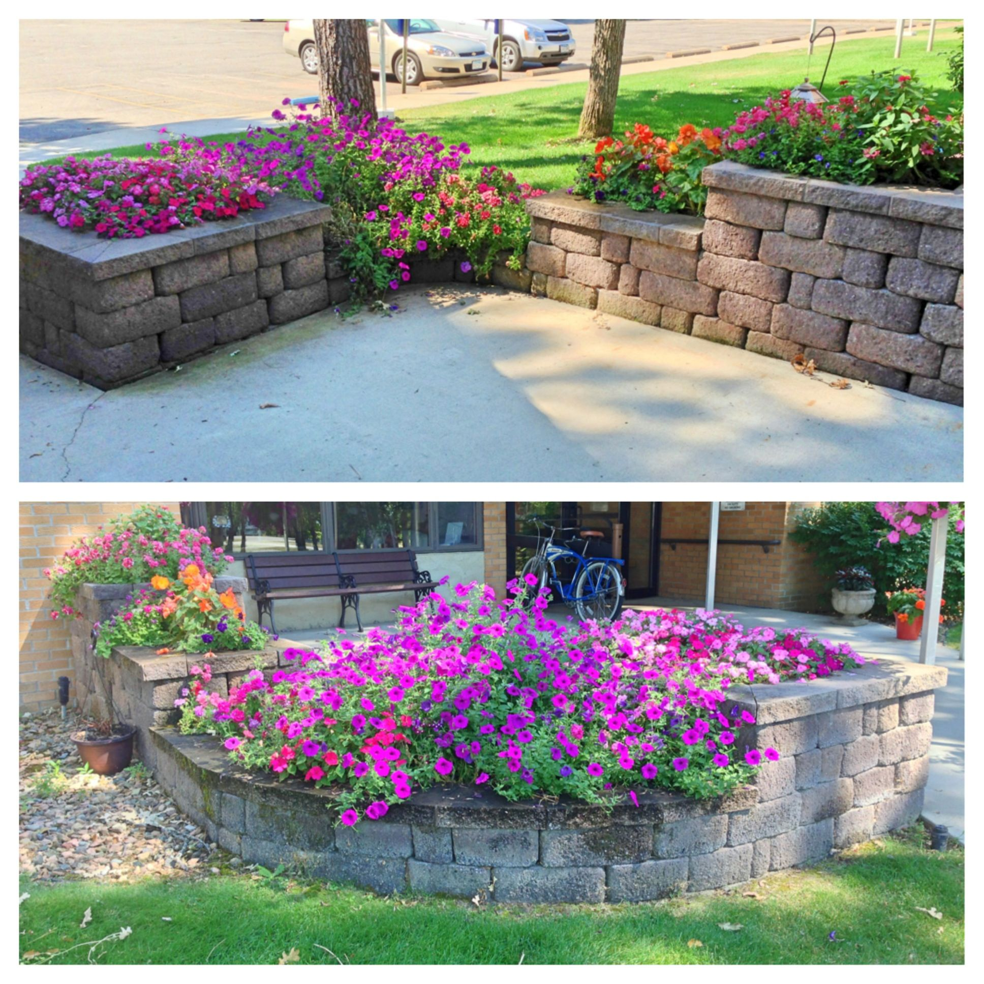 Idea for a flower bed off the corner of a patio Corner