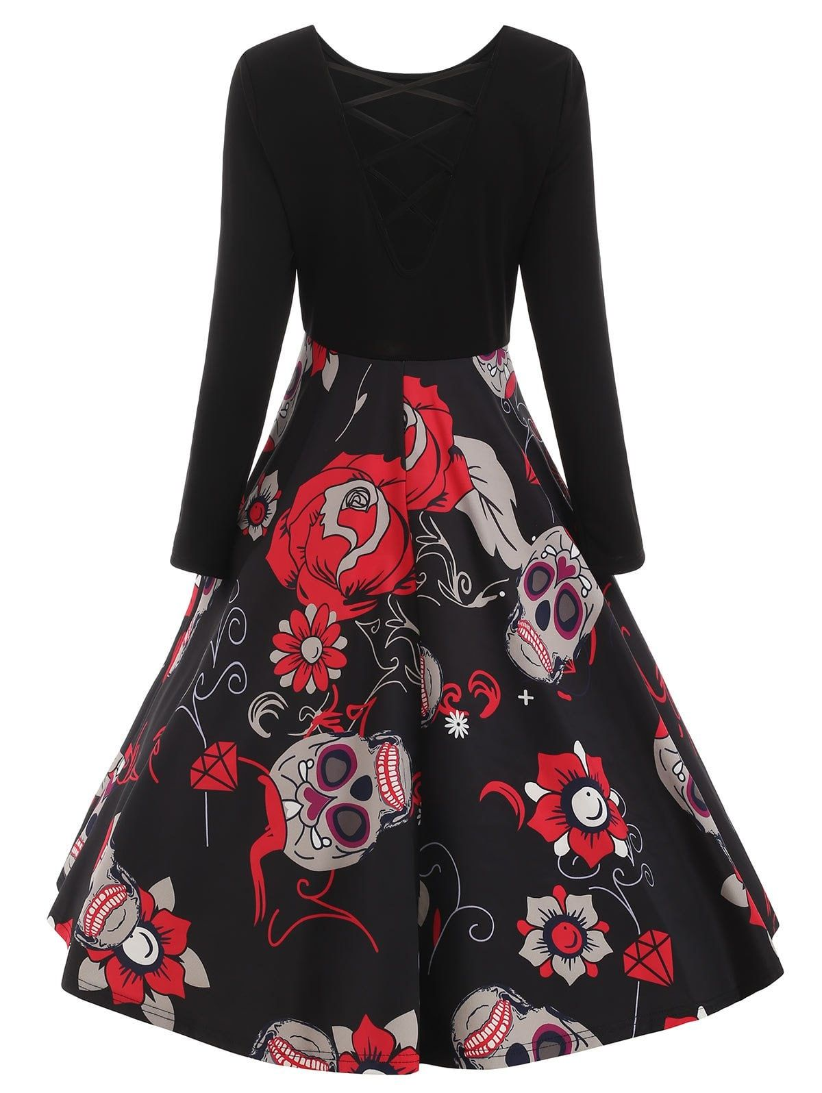 09aee10cc74 Sugar Skull Print Criss-cross Dress -