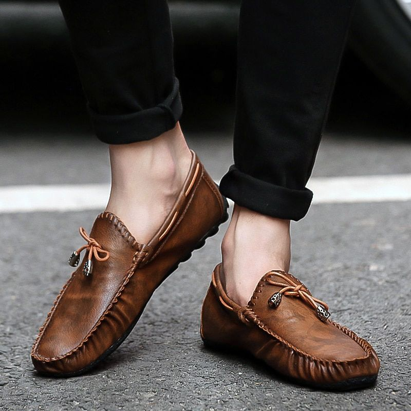 Brown Men Flat Driving Moccasin Loafer Casual Comfy Leather Slip-on Soft Shoes