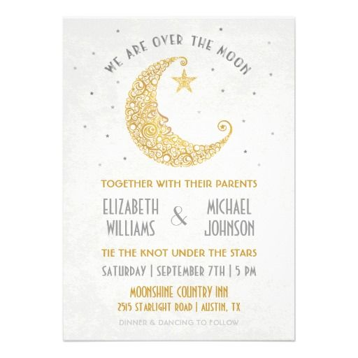 Over The Moon Wedding Invitation Gold