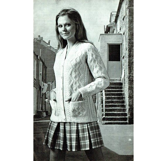 Pdf vintage womens ladies knitting pattern 1960s aran jacket mod pdf vintage womens ladies knitting pattern 1960s aran jacket dt1010fo