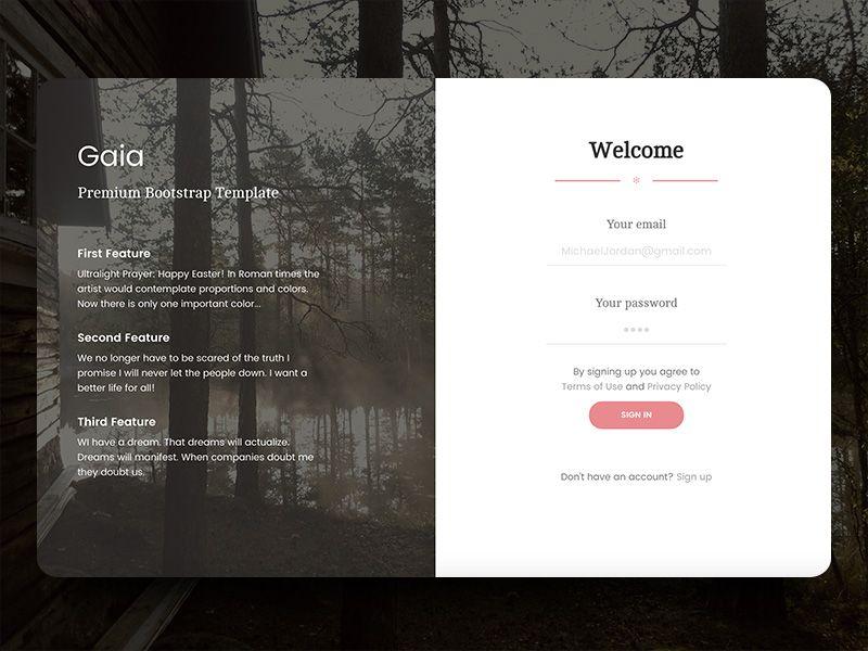 Gaia Login Page Login Page Login Design Bootstrap Template