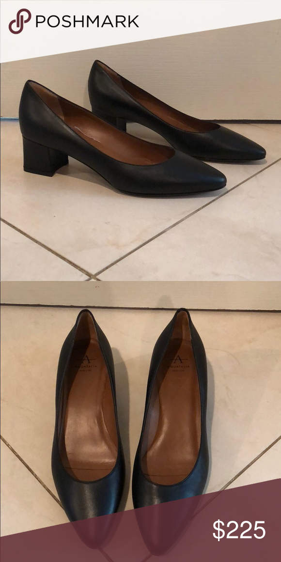 cf4789bbf35 New Aquatalia Phoebe leather pump New black Aquatalia leather pump with 2  inch block heel almond shape toe