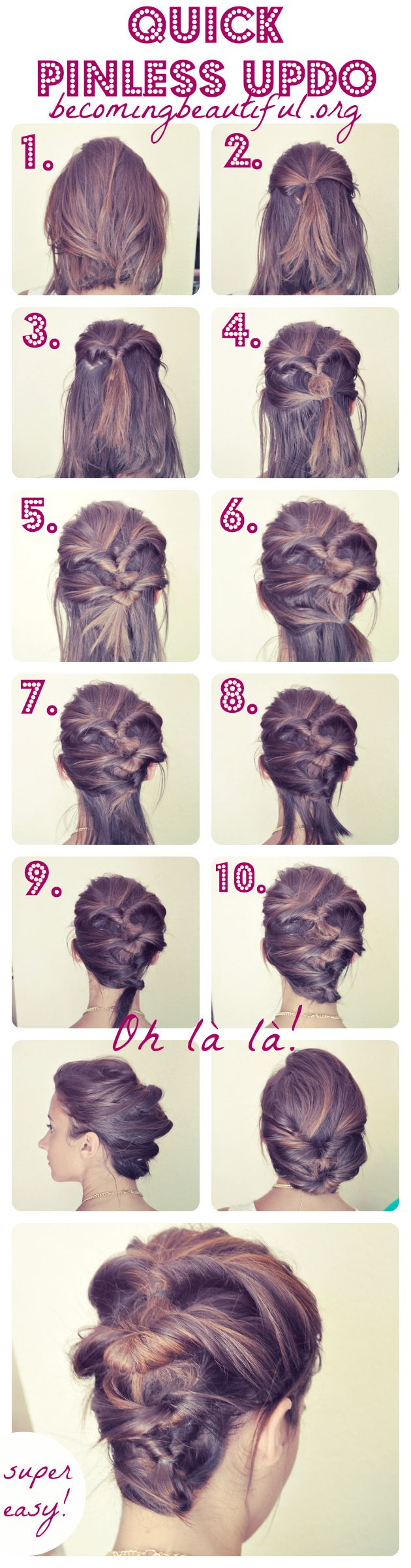 Diy Quick Pinless Updo Paige Sagach Easy Hairstyles Cute Hairstyles Easy Updo Hairstyles