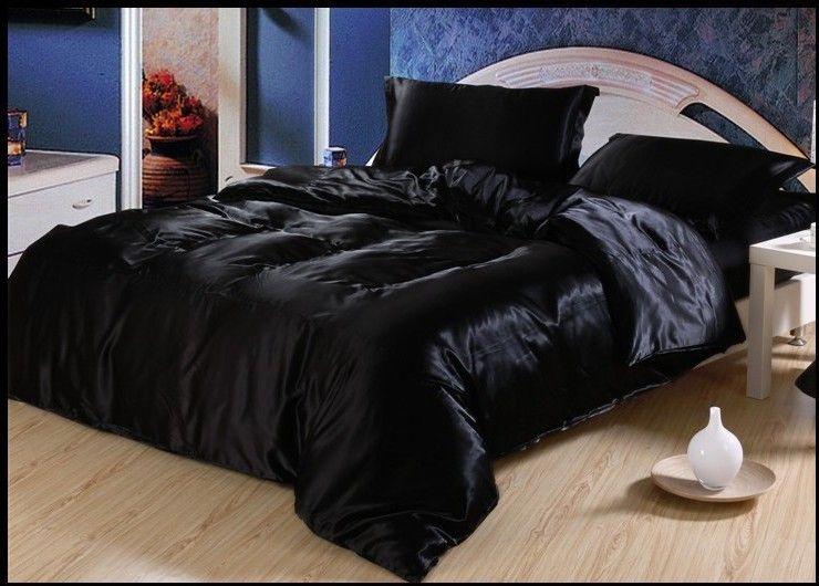 Luxury Black Silk Bedding set satin sheets Super King size queen ... : silk quilts for beds - Adamdwight.com