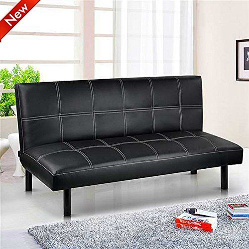 Sienna Black Faux Leather Click Clack 3 Seater Small Double Sofa