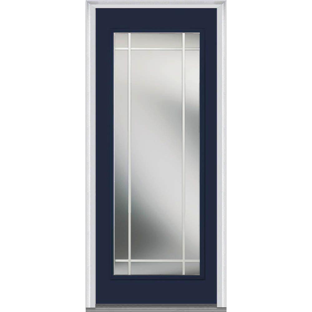 Milliken Millwork 30 In. X 80 In. Classic Clear Glass PIM Full Lite Painted  Fiberglass Smooth Prehung Front Door, Naval